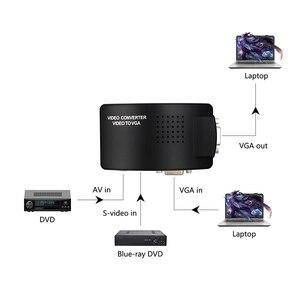 Image 2 - Wiistar RCA CVBS Композитный S видео AV вход к VGA выход адаптер высокого разрешения для монитора ноутбука черный