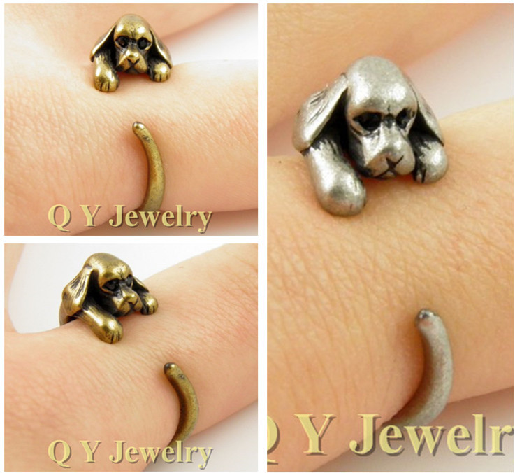 Fine Jewely Vintage Silver Hippie Brass Knuckle Cocker Spaniel Ring Boho Chic Mid Finger Animal Dog To us Rings For Women Men