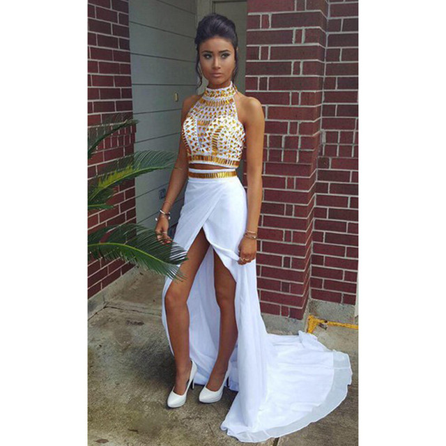 White and gold chiffon prom dress aliexpress