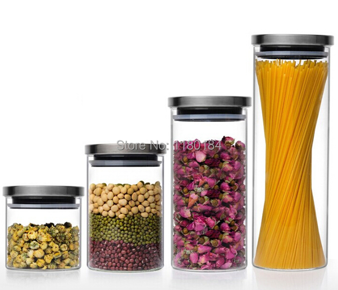 1pc Transparent Glass Canister Kitchen Storage Containers Food Grain Legume Storage Bottle 600ml Free Shipping