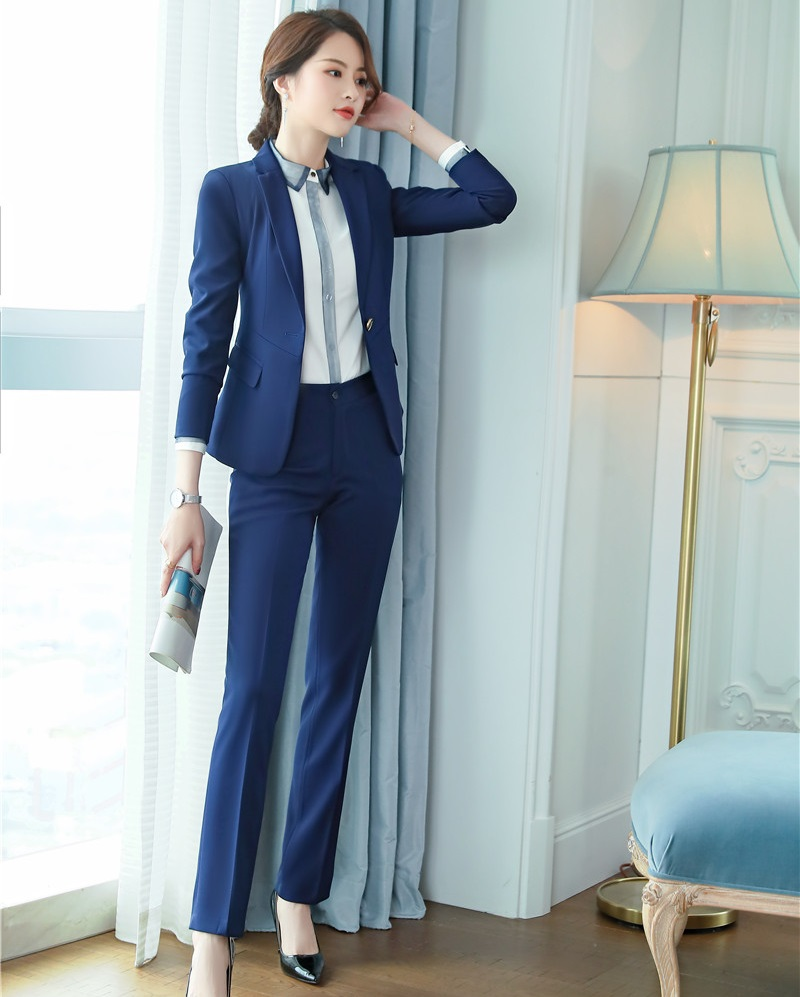 Just Formal Navy Blue Blazer Women Business Suits Work Wear Ladies Pant And Jacket Sets Office Uniform Styles Free Shipping To Prevent And Cure Diseases