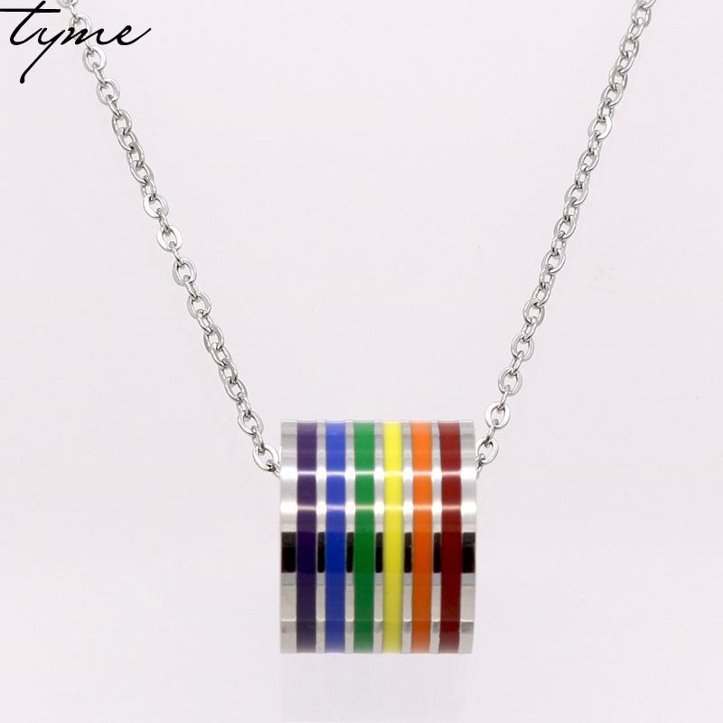 Fashion Rainbow LGBT GAY PRIDE Pendentif Lesbian Bijoux Statement Collier