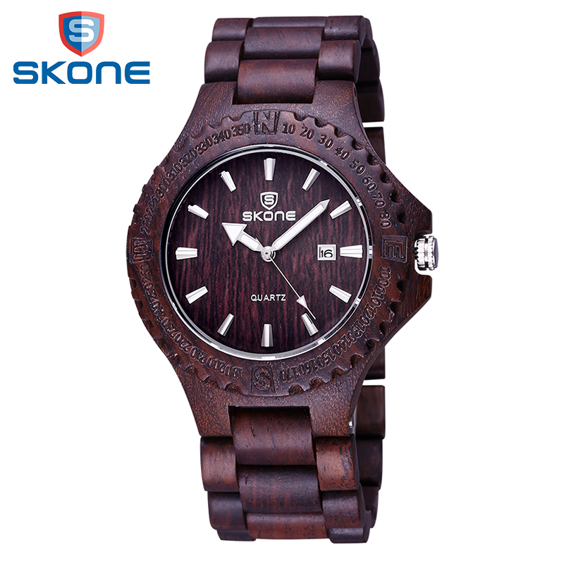 SKONE Men Wooden Watch Calendar Display Quartz-Watch Wood Watches Men Fashion Casual Wristwatch Male Clock Relogio Masculino redear top brand wood watch men women wooden watches japan miyota fashion watch leather clock relogio feminino relogio masculino