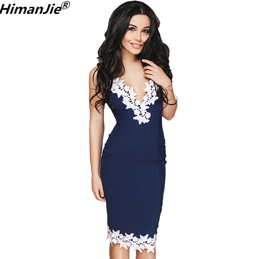 Himanjie 2019 Summer Party Dresses Women Sexy Strappy Deep V Neck Lace Bodycon Bandage retro Dress vestidos feminino mujer