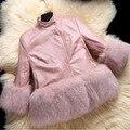 Nuevas muchachas de La Manera abrigo de invierno Faux Fur cuff Gruesa Campera de abrigo de Algodón ropa de Niños Ropa Niños Parkas chaqueta de las muchachas de Cuero de Calidad