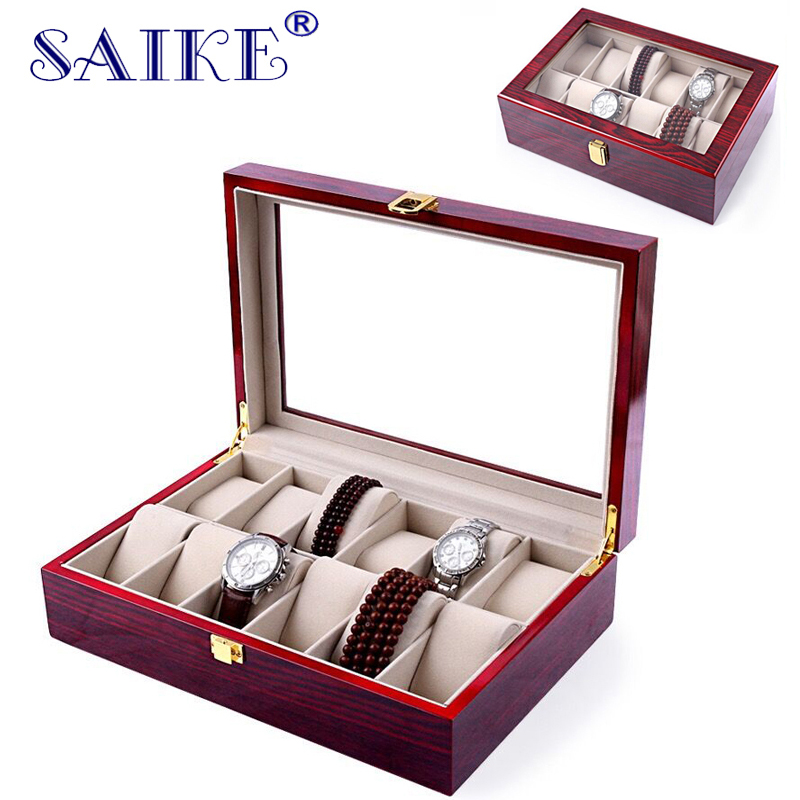 SAIKE Watch Boxes 12Slots MDF Luxury Wood Watch Display Case Watches Box for Expensive Jewelry Watch Storage Display Red watchcase storage luxury 22 slots 2 layer wood glossy lacquer watch box jewelry collection display drop shipping supply