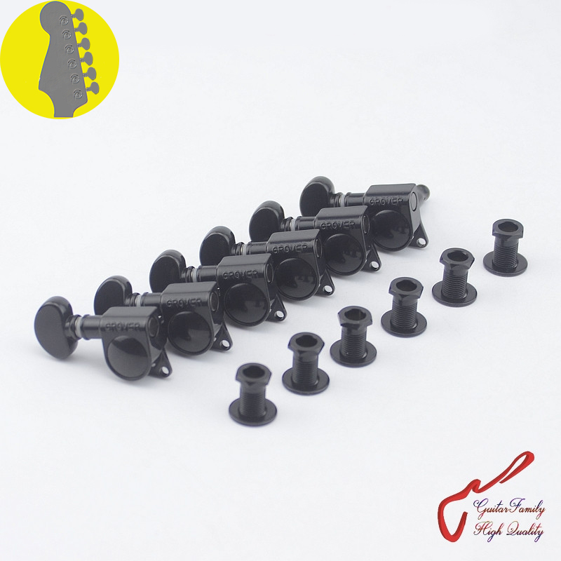 1 set 6 in line genuine grover left hand guitar machine heads tuners 1 18 black without. Black Bedroom Furniture Sets. Home Design Ideas