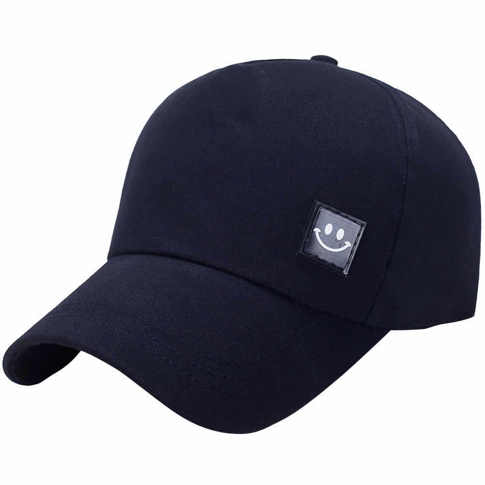 メンズと女性の 5 野球キャップ 2019 男性と女性の革標準スマイリーフェイス太陽帽子野球キャップ調整可能なキャップ