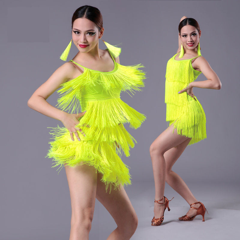 2019 New Girls Kids Adult Modern Ballroom Latin Dance Dress Tassel Fringe Salsa Tango Dance Wear Black Performance Stage Wear