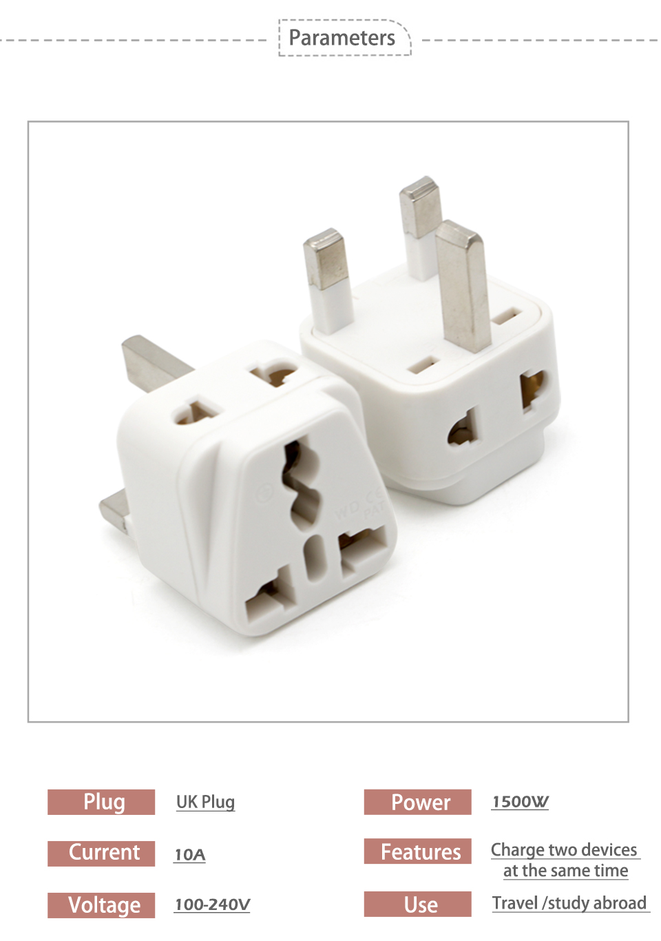 Hot-Sale Universal EU US AU to UK 3 Pin AC Power Socket Plug Travel Charger Adapter Converter 2 Device Charging (5)