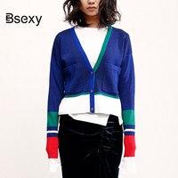 Autumn New Color Block Knitted Cardigan 2018 Streetwear women V neck Slim thin Short Sweater Jacket Female Crop Tops knit coat