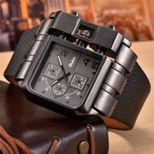 OULM 3364 Brand Original Rectangle Unique Design Men Wristwatch Wide Dial Leather Strap Quartz Watch