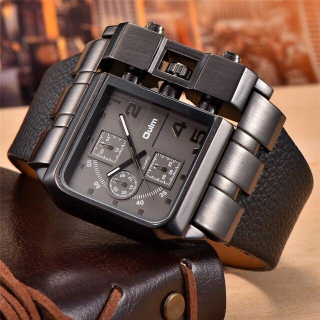 fa8d7d994b0 OULM 3364 Marca Original Retângulo relógio de Pulso Grande Dial Pulseira de Couro  Relógio de Quartzo