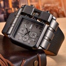 OULM 3364 Reloj de pulsera para hombre, diseño único, rectangular, correa de cuero, reloj de cuarzo