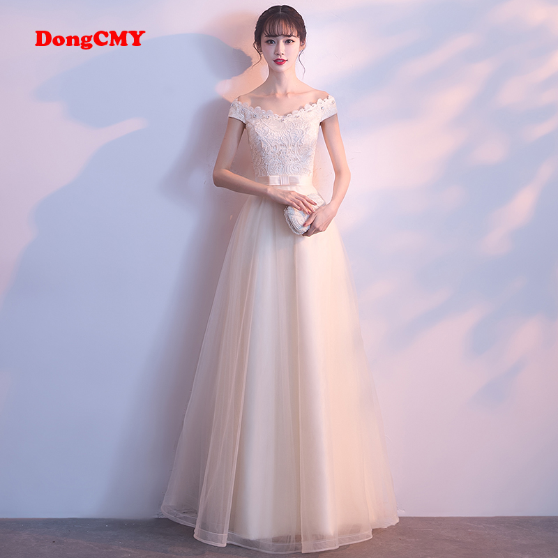 DongCMY CX1400 2019 new fashion bandage long party lace-up champagne   prom     dress