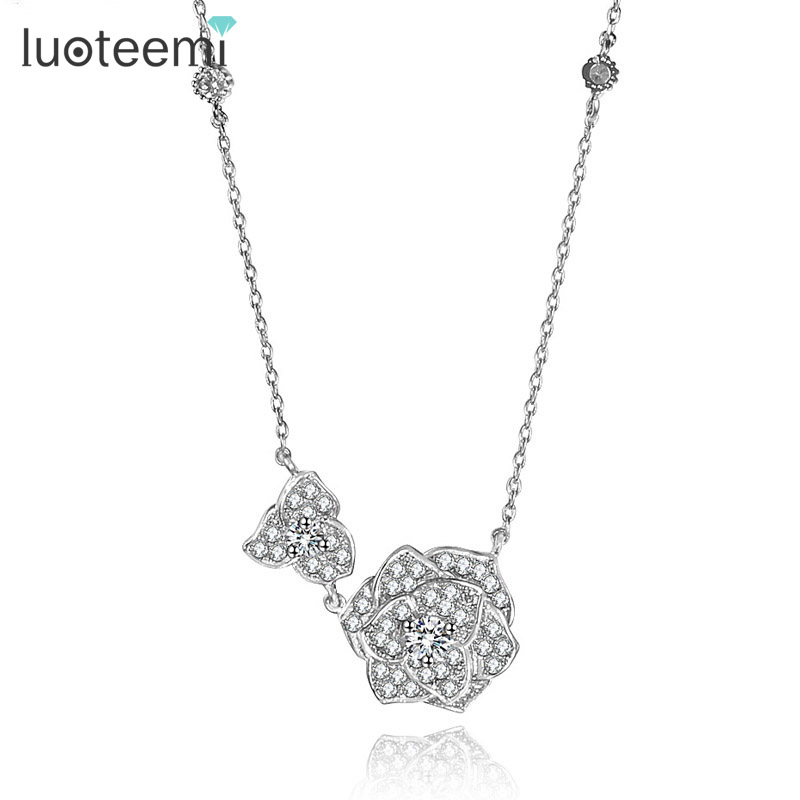 LUOTEEMI Fashion Beautiful Two Flower Cut Necklace for Women Luxury Elegant Necklace font b Jewelry b