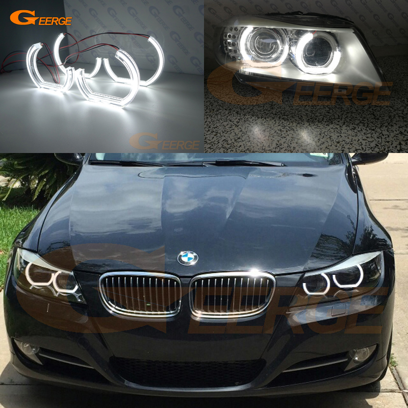 For BMW 3 Series E90 E91 2009 2010 2011 2012 Xenon headlight Excellent DTM M4 Style Ultra bright led Angel Eyes kit