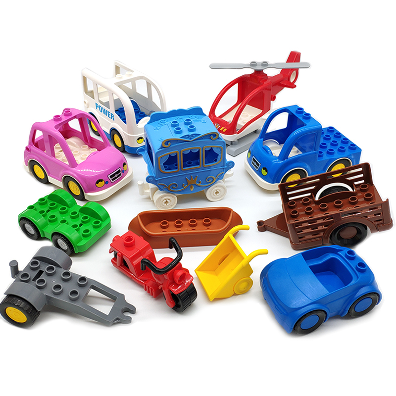 Trailer Car Motorcycle Boat Big Size Building Blocks Collocation Vehicle Accessory Kid DIY Toys Compatible Duplo Bricks Set Gift