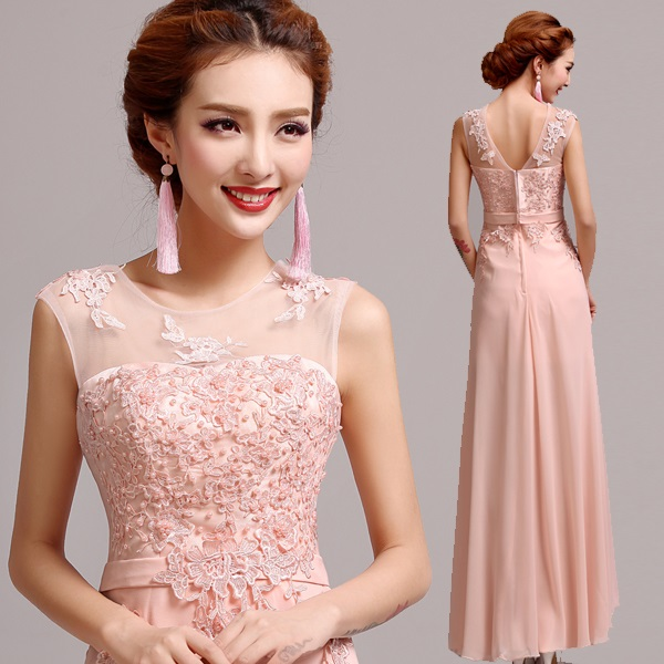 Tank Sleeveless Pink Embroidered Lace Beaded Long Evening Dresses ...