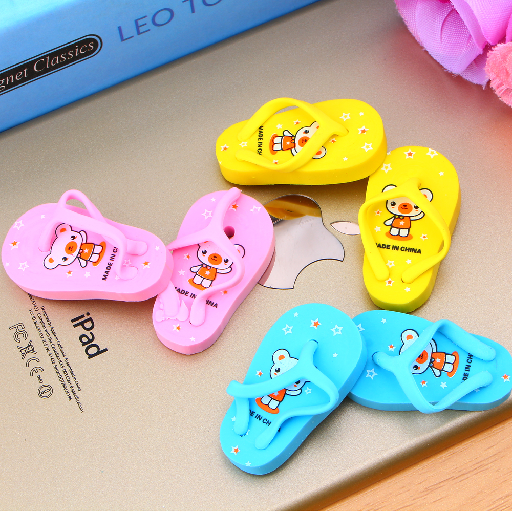 2Pcs/1Pair Cartoon Cute Slippers Rubber Eraser Kawaii Creative Stationery School Supplies Papelaria Gift For Kids E2032