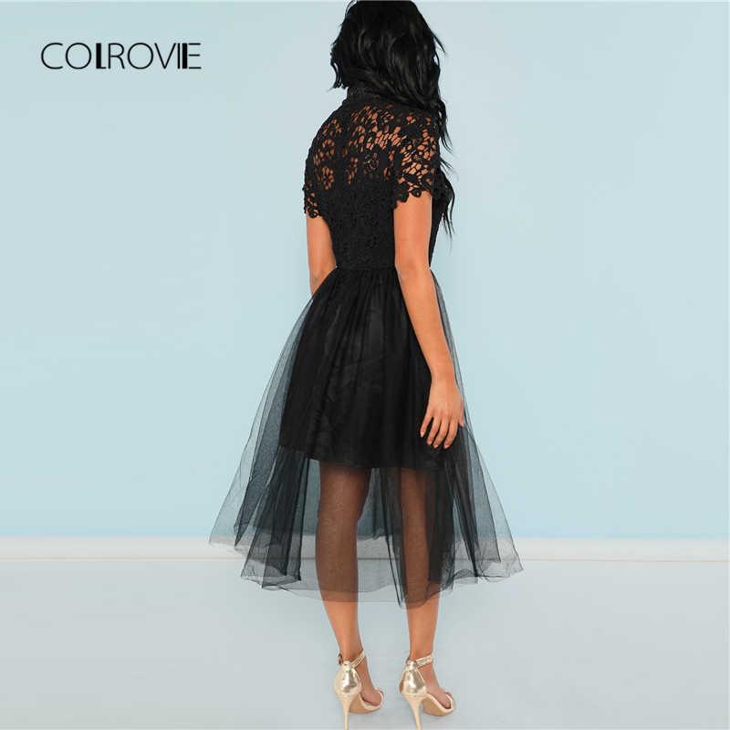 COLROVIE черный однотонный цветочный лиф Сетчатое кружевное сексуальное платье женское 2018 осеннее длинное вечерние платье винтажное ТРАПЕЦИЕВИДНОЕ элегантное платье