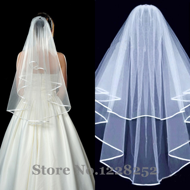 Ribbon Edge Short Bridal Veils Simple Crocheted Bridal Accessories Cute Tulle 2 Layers White Ivory Wedding Veils