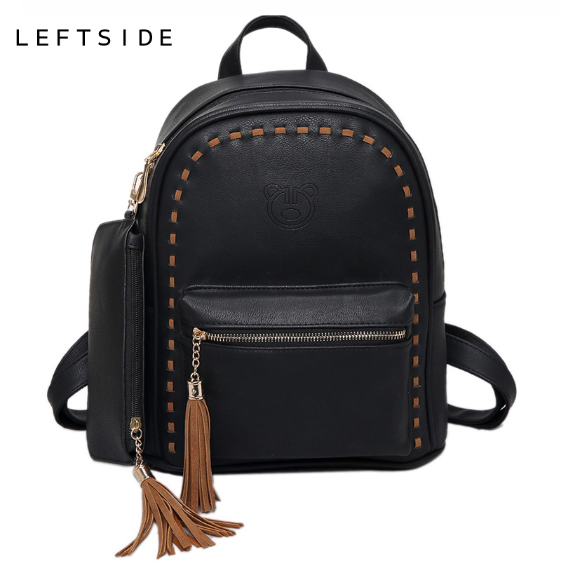 LEFTSIDE 2 Pcs Set Women Tassels Backpack With A Small Bag Casual Leather Ladies Feminine Backpacks