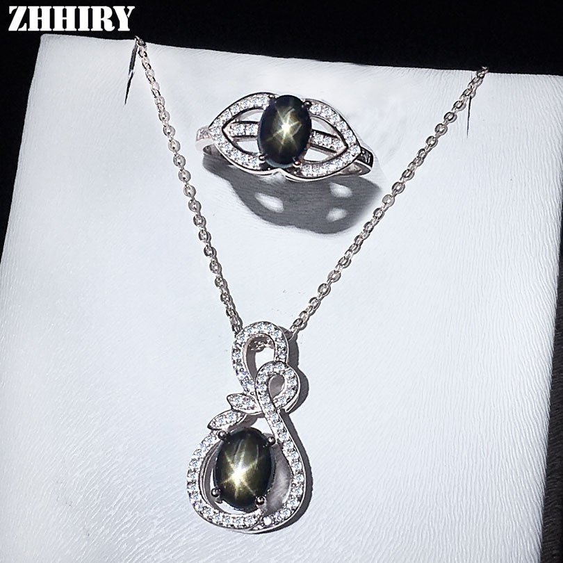 ZHHIRY Star Sapphire Sets Ring Necklace Pendant Solid 925 Sterling Silver Natural Gemstone Woman Fine Jewelry