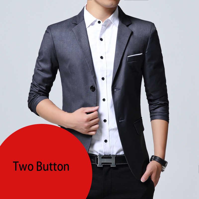 メンズスリムフィットエレガントなブレザージャケットブランドシングルブレスト 2 ボタンパーティーフォーマルビジネスドレススーツのジャケットの男性ブレザーオム