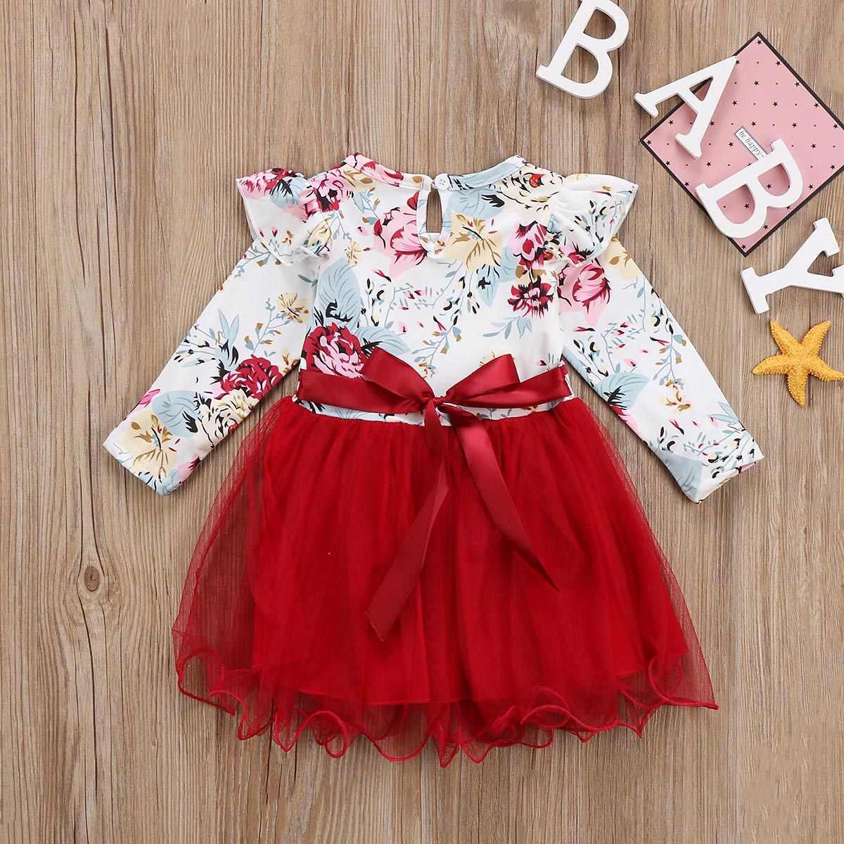 060de8438c ... Newborn Kids Baby Girls Dress Autumn Long Sleeve Round Neck Floral  Tulle Tutu Dress Girl Clothing ...