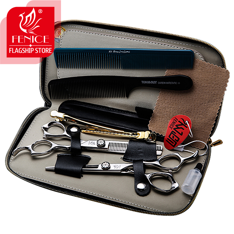 Japan 440c Professional 6.0 inch hair scissors set salon cutting+thinning barber shop styling shears with hair combs and clips 7 0 inch professional hair scissors hairdressing cutting shears thinning scissors salon hair styling tools free delivery