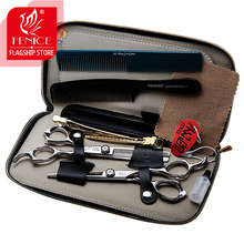 Japan 440c Professional 6.0 inch hair scissors set salon cutting+thinning barber shop styling shears with hair combs and clips