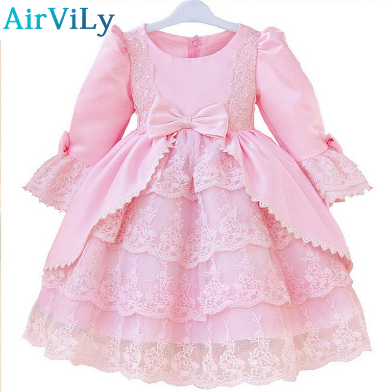 2017 Baby Kids Girls Dress Waist Pleated Toddler Flower Tutu Layered Princess Party Bow Formal Dresses Costume vestidos infantil 2017 fashion summer hot sales kid girls princess dress toddler baby party tutu lace bow flower dresses fashion vestido