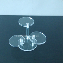 ФОТО  of three rounds acrylic display risers circular stand rack for nail polish bottle cosmetics support holder small showcase