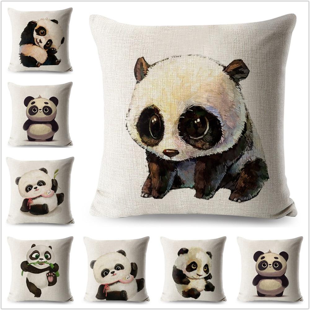 Cute Panda Pillow Case Cartoon Animals Linen 45*45 Cm Square Cushion Cover For Sofa Home Decorative Printed Throw Pillowcase