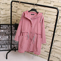 2016 Autumn Corduroy Trench Coat for Women Casual Puls Size 3XL Adjustable Waist Loose Long Style Hooded Trench KK1948
