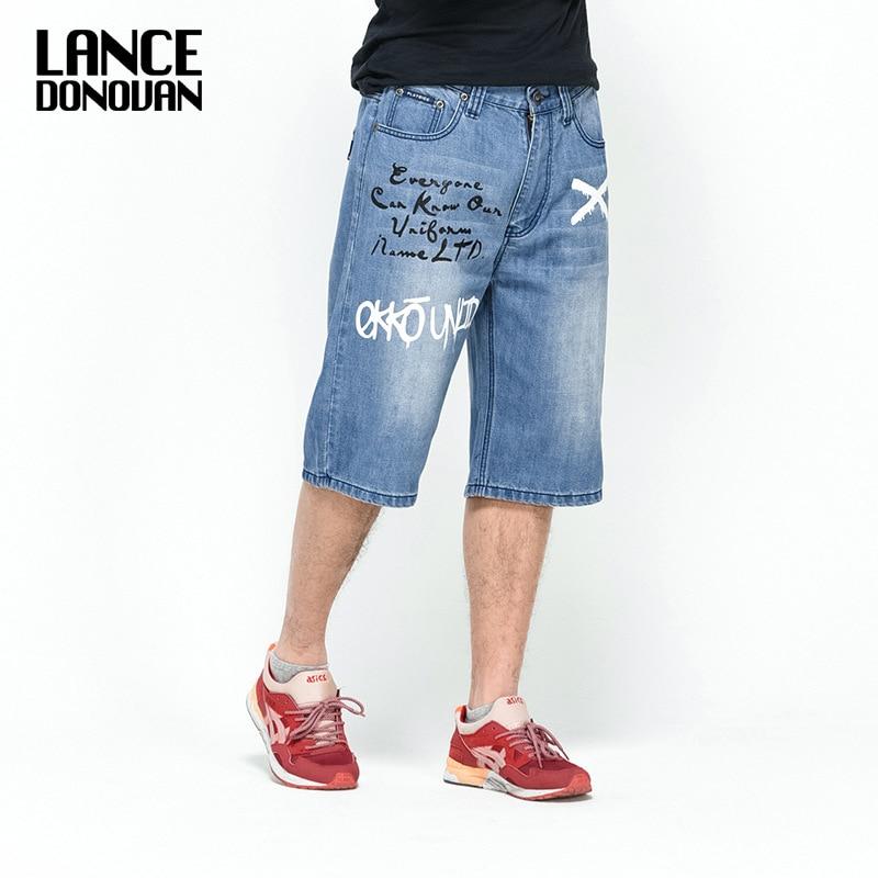 6 STLYE Denim Shorts Jeans Men 2019 Summer HIPHOP Harlan Straight Loose Man Jeans Black/Blue