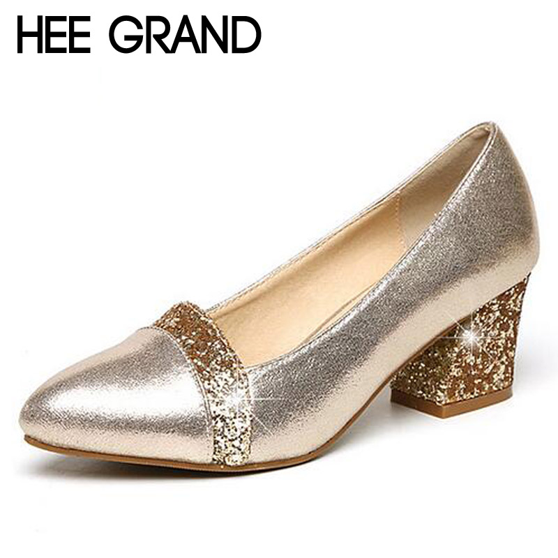HEE GRAND Glitter High Heels 2017 Bling Pumps Gold Platform Women Shoes Fashion Slip On Wedding Shoes Woman Size 35-41 WXG343 hee grand women s wedges heel highs for 2017 summer cut outs love heart bottom pumps wedding shoes woman size 35 39 xwd401