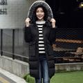 Новые зимняя куртка женщин меховой воротник лиса с капюшоном куртки тонкий средней длины плюс размер вниз пальто большой карман снег теплые парки MZ880g
