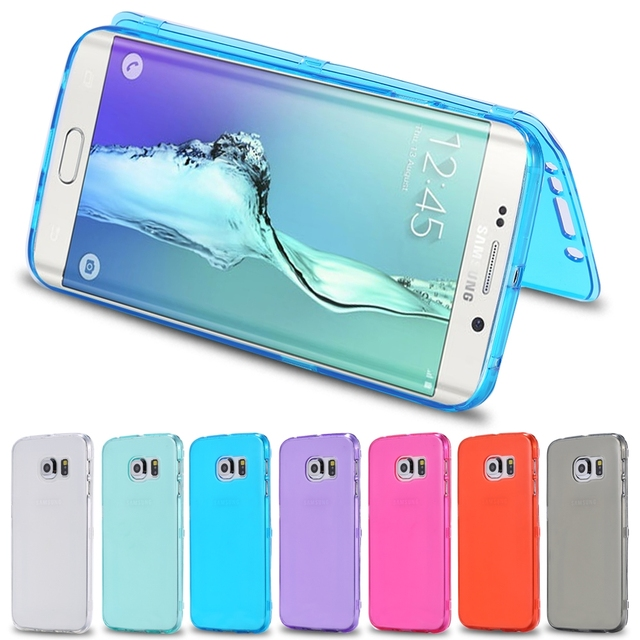 brand new 89956 ec9e5 US $3.96 |S6 Edge Flip Mobile Phone Cases Fashion Candy Color Soft TPU Gel  Case For Samsung Galaxy S6 Edge G9250 Slim Crystal Clear Cover on ...