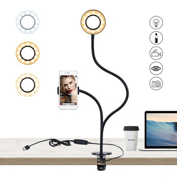 2-in-1 Cell Phone Holder with LED Selfie Ring Light for Live Stream Phone Clip Holder Adjustable Desk Lamp Makeup Light 1