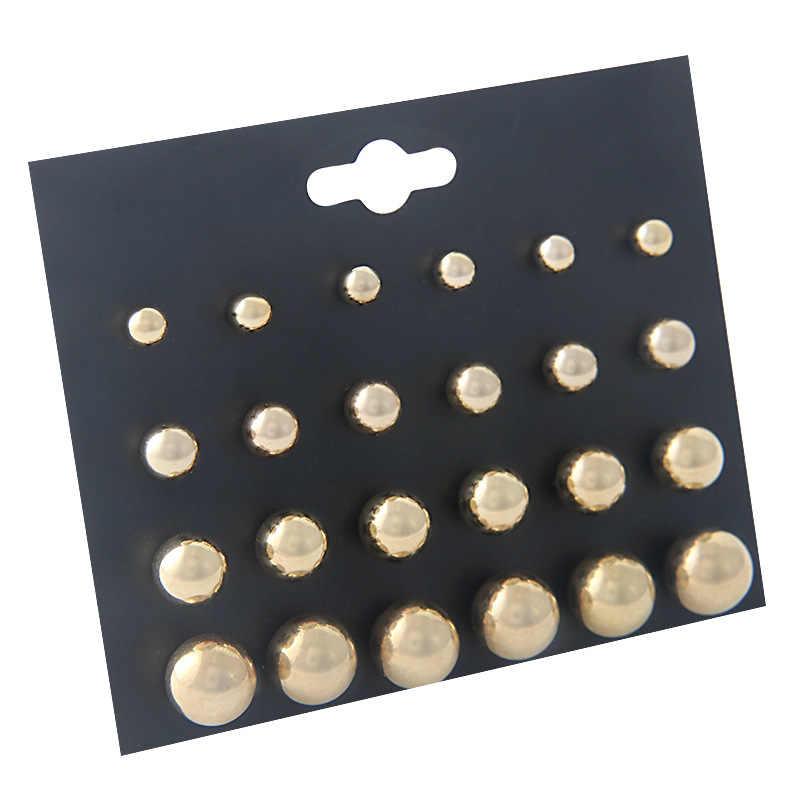 12 Pairs Simulated Pearl Black Earrings For Women Fashion Balls Stud Earring Set Pusheen African Jewelry Wholesale Lots Bulk
