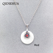 QIDIEHUA Round Natural Shell Collar Choker Necklace Boho 3 Colors Edelweiss Short Chain Pendant Necklaces Jewelry Wholesale