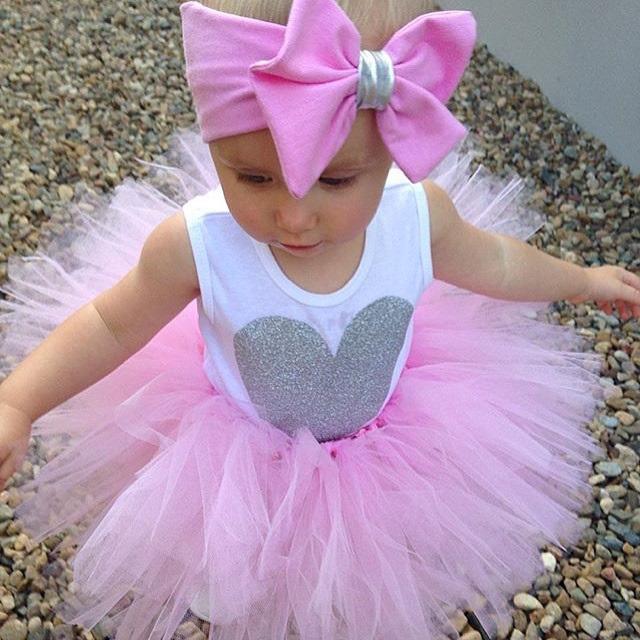 0-18M Newborn Infant Baby Girls Clothes Sleeveless Heart Bodysuit Romper + Tutu Skirt + Headband 3pcs Outfit Kids Clothing Set 10
