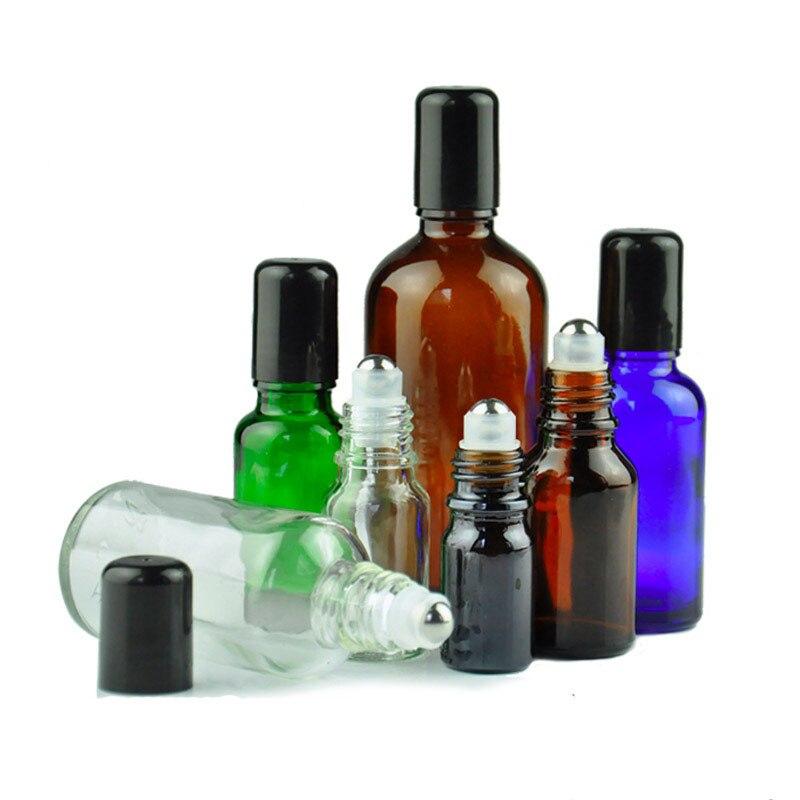 30ML 50ML 100ML Essential Oil Bottle Empty Glass Dropper Bottle Black Plastic Cover Stainless Bead Refillable