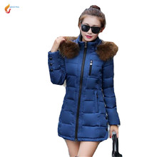 2017 Autumn Winters New Fashion Women Down jacket Temperament Leisure Keep warm Hooded Big yards Cotton-padded Jacket Coat G321