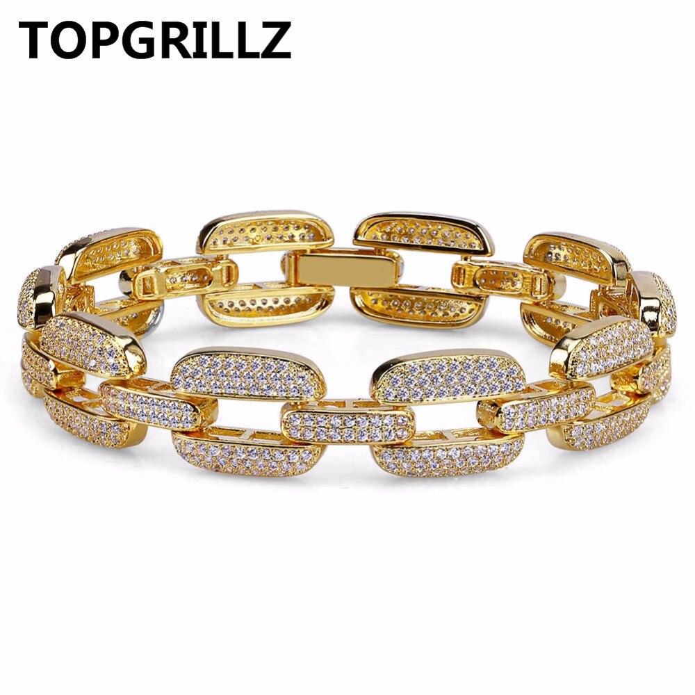 TOPGRILLZ Hip Hop Gold/Silver Color Iced Out Micro Pave CZ Stone Bracelet Copper Cuban Chain Link 15mm Bracelets 20.5cm Long