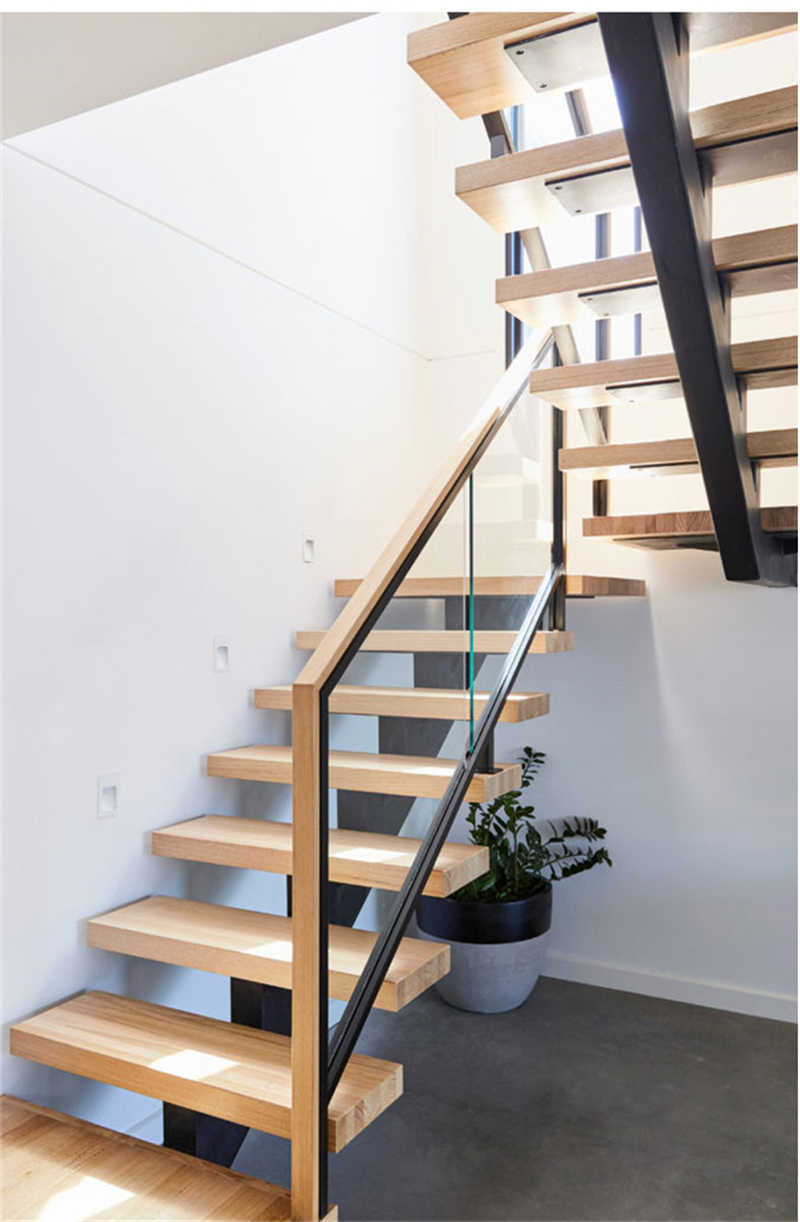 Glass Railing Wood Stair Mono Stringer Wood Staircase | Wooden Stairs Railing Design With Glass