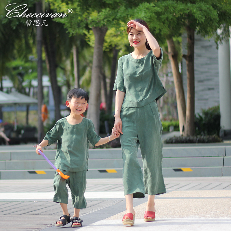 Checcivan Family Summer Set 2017 Fashion Mother and Child Clothings Daughter Short-sleeve Top Women Capris Twinset Boys 2Pcs Set family fashion summer tops 2015 clothers short sleeve t shirt stripe navy style shirt clothes for mother dad and children