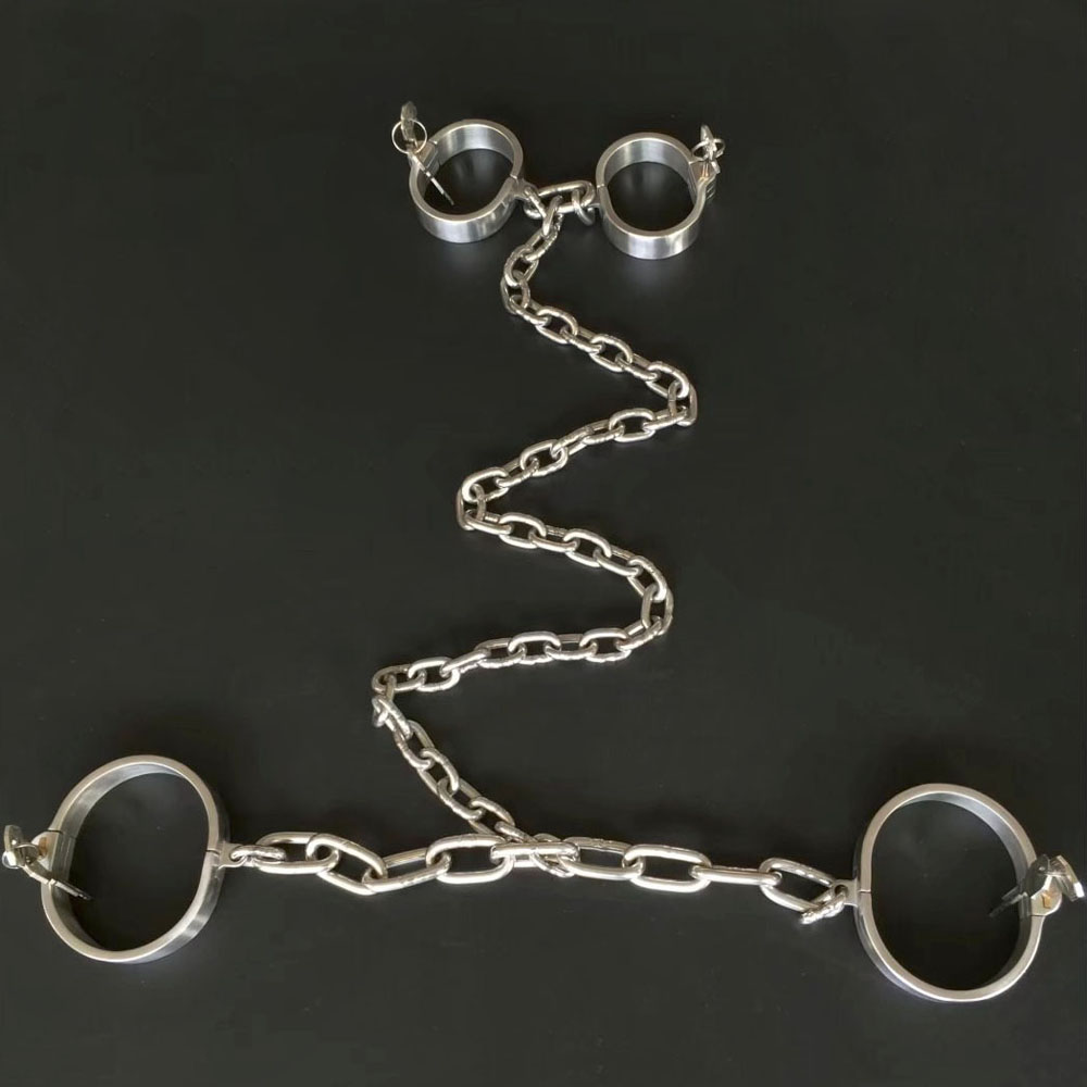 Stainless steel handcuffs with ankle cuffs bondage restraints bdsm fetish hand cuffs leg irons shackles sex torture tools toysStainless steel handcuffs with ankle cuffs bondage restraints bdsm fetish hand cuffs leg irons shackles sex torture tools toys